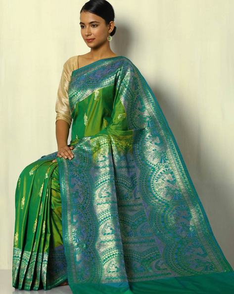 South Silk Saree With Baluchari Border By Pretty Woman ( Green )