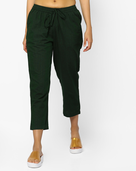 Calf-Length Pants With Tie-Up By PE IW Casual ( Green )