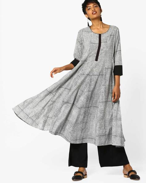 Anarkali Kurta With Contrast Sleeve Hems By Project Eve IW Casual ( Black )