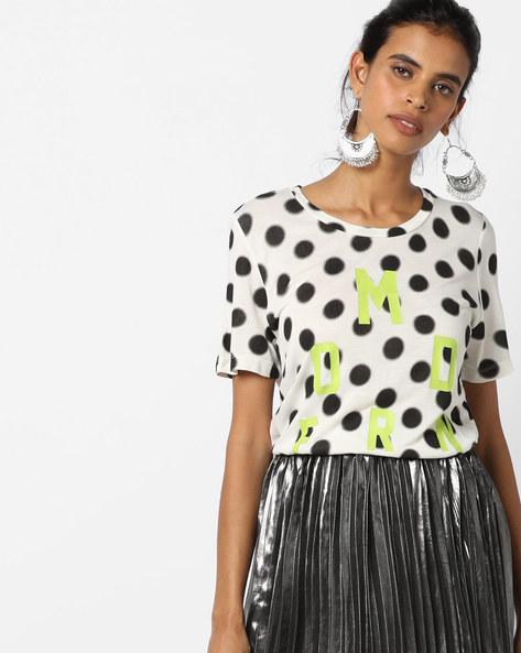 Polka-Dot Print Top With Short Sleeves By UNITED COLORS OF BENETTON ( White )
