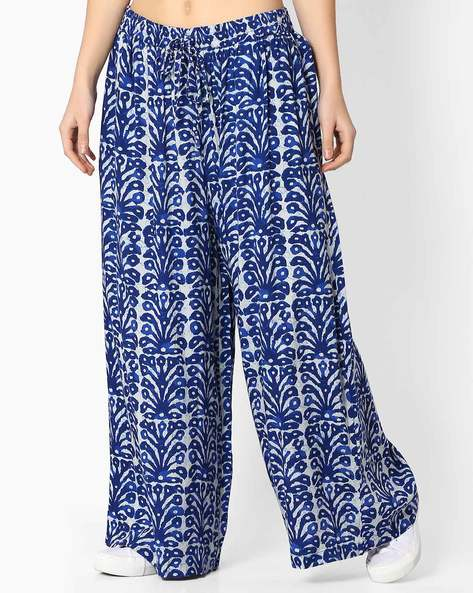 Printed Palazzo Pants With Drawstring By Alto Moda By Pantaloons ( Indigo )