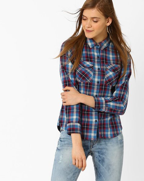 Checked Cotton Shirt By Pepe Jeans ( Blue )
