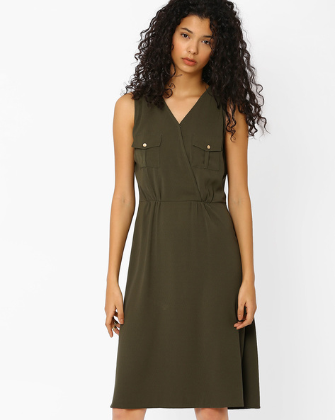 Utility Dress With Overlapped Front By AJIO ( Olive )
