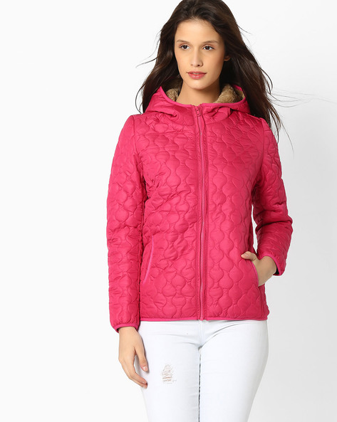 Onion Quilted Hooded Jacket By TEAM SPIRIT ( Pink )