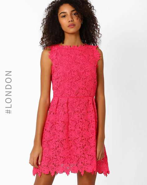 Sleeveless Lace Dress By Zibi London ( Fuchsia )
