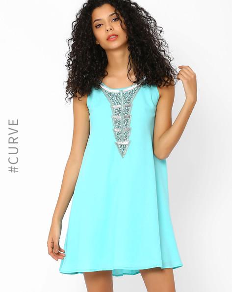 Swing Dress With Embellished Neckline By AJIO ( Mint )