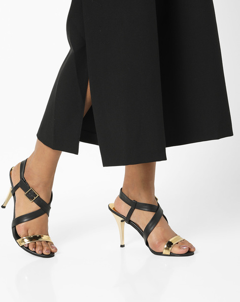 Heeled Sandals With Buckle Closure By TEASE ( Black )