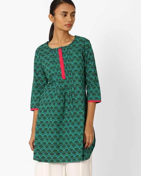 Printed Straight Kurta With Pintucks By Jiyaa ( Green ) - 460045428004