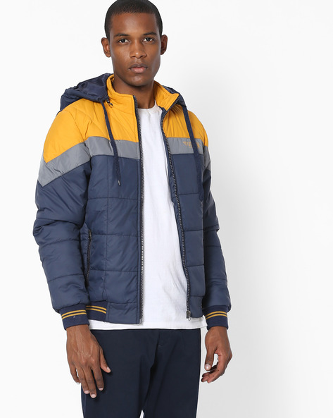 Colourblock Quilted Jacket By Fort Collins ( Navy ) - 460138796005