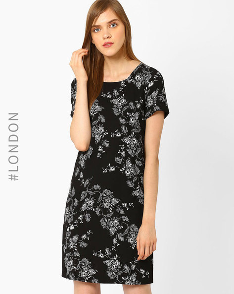 Floral Print Shift Dress By Marks & Spencer ( Black )
