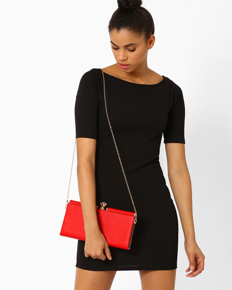 Leatherette Clutch With Detachable Strap By Lino Perros ( Red )