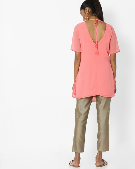 Embroidered Tunic With Back Tie-Up By AJIO ( Coral )