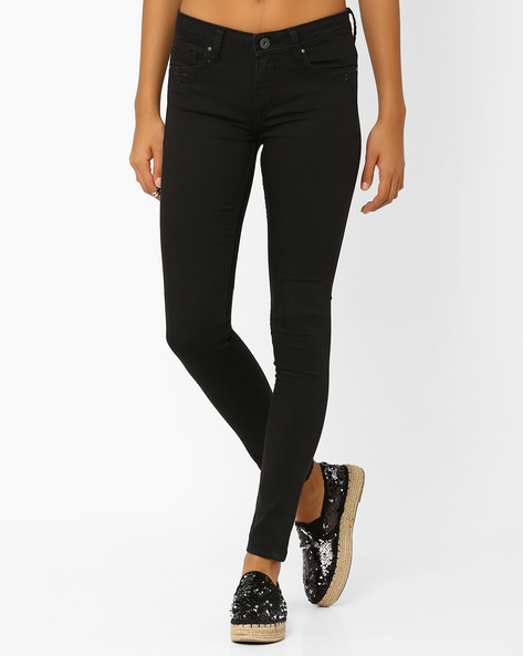 Skinny Fit Ankle-Length Jeans By AJIO ( Grey )