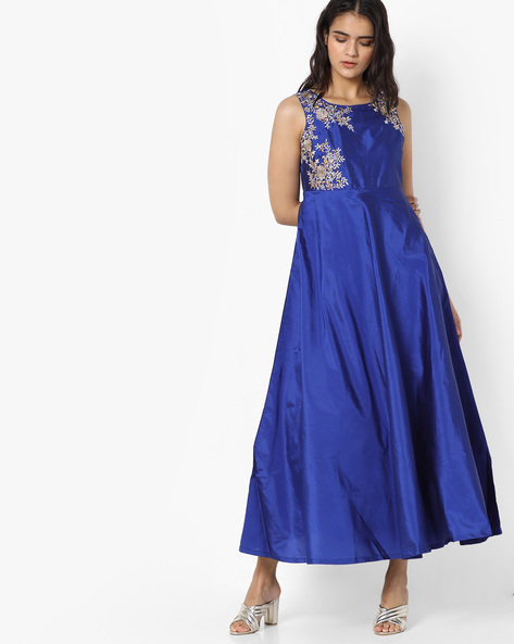 Maxi Dress With Floral Embroidery By Trishaa By Pantaloons ( Blue )