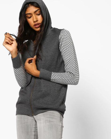 Hooded Sweatshirt With Printed Sleeves By Fame Forever By Lifestyle ( Darkgrey )