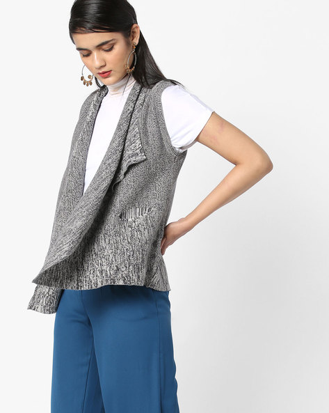 Open-Front Flat Knit Shrug By AJIO ( Grey )