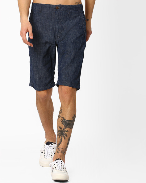 Mid-Rise Cotton Shorts By NETPLAY ( Navy )