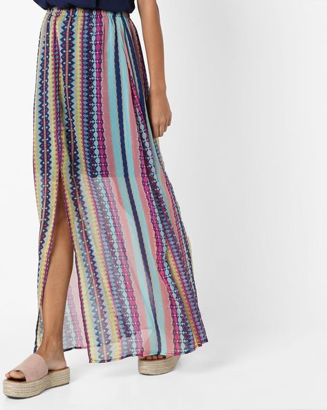 Printed Sheer Skirt With Front Slit By RI-DRESS ( Multi )
