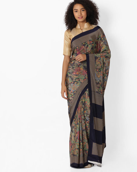 Printed Saree With Contrast Border By VIPUL ( Navyblue )