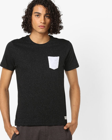 Heathered T-shirt With Contrast Patch Pocket By FLYING MACHINE ( Black )