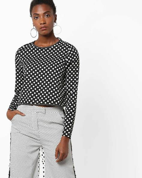 Polka-Dot Top With Open-Back By AJIO ( Black )