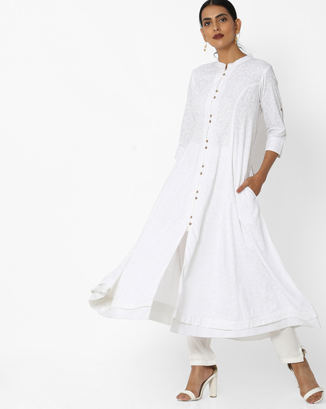 Self-Print Flared Kurta With Mandarin Collar By Khimsariya ( White )