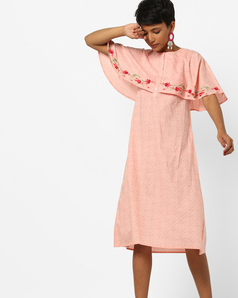 Printed Midi Cape Dress By AJIO ( Peach )
