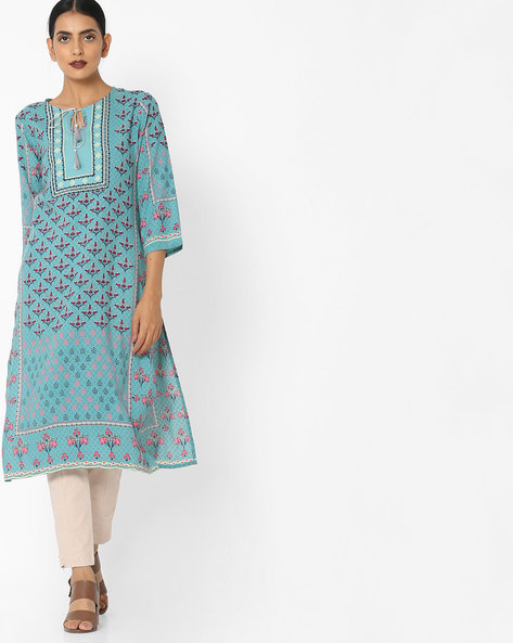 Printed Straight Kurta With Tassel Tie-Up By Arah ( Turquoise )