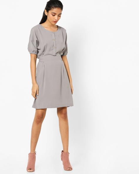 Fit & Flare Dress With Tie-Up By AJIO ( Darkgrey )