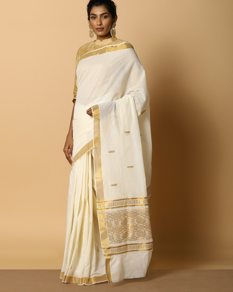 Kerala Kasavu Cotton Saree With Ornate Pallu And Buti By Indie Picks ( Offwhite ) - 460104575001