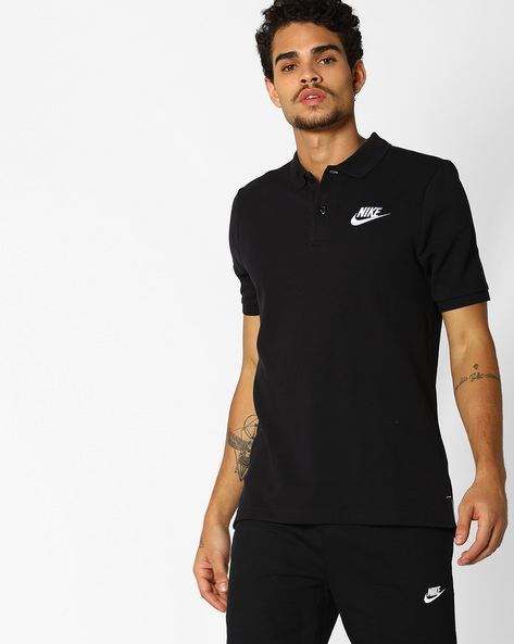 Polo T-shirt With Signature Branding By NIKE ( Black )