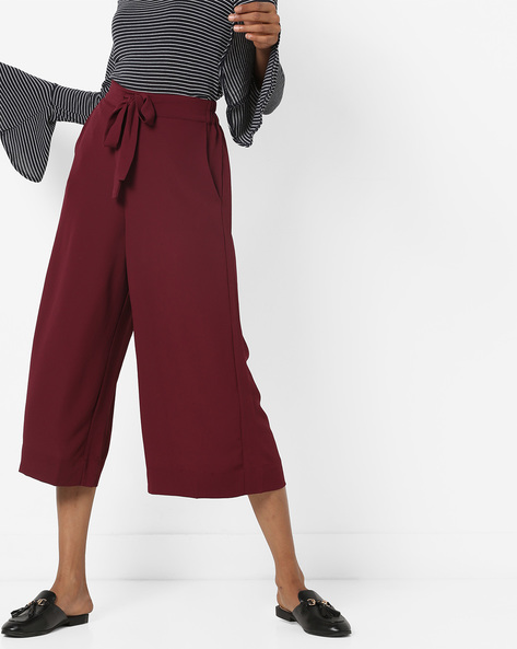 Mid-Rise Culottes With Drawstring Semi-Elasticated Waist By CODE By Lifestyle ( Wine )