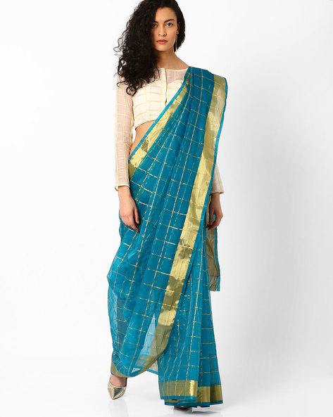Checked Saree With Contrast Border By Pihu ( Teal )