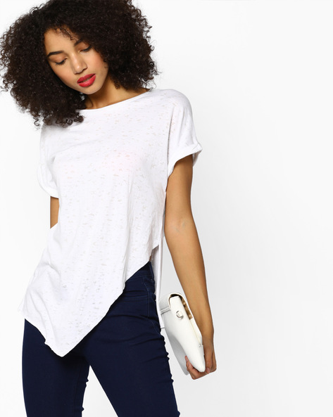 Graphic Print Top With High-Low Asymmetrical Hemline By Ginger By Lifestyle ( Offwhite )