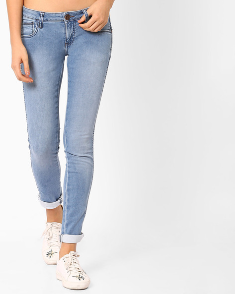 Slim Fit Lightly Washed Jeans By WRANGLER ( Blue )
