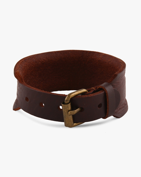 Genuine Leather Bracelet With Buckle Closure By Eristona Man ( Brown )