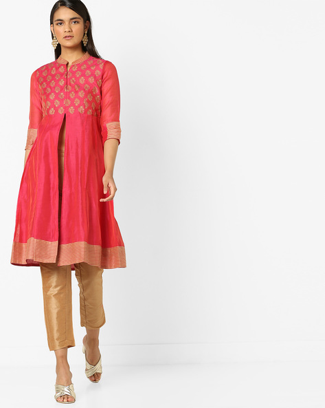 Printed Kurta & Pant Set With Striped Panels By AJIO ( Fuchsia )