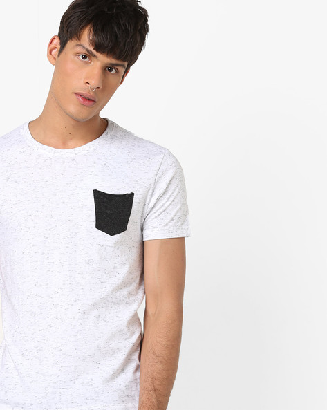 Heathered T-shirt With Contrast Patch Pocket By FLYING MACHINE ( White )