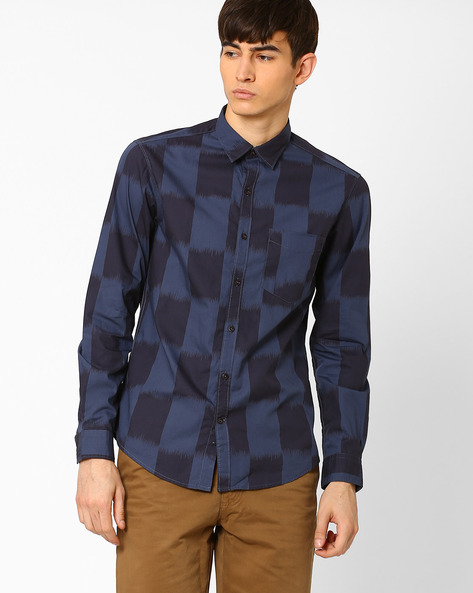 Checked Slim Fit Shirt By JOHN PLAYERS ( Blue )