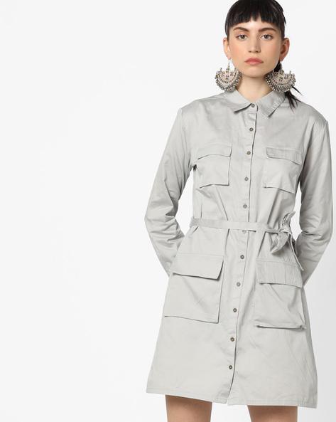 Shirt Dress With Flap Pockets By AJIO ( Lightgrey )