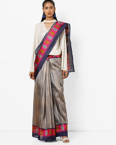 Printed Saree With Paisley Border By Florence ( Multi )