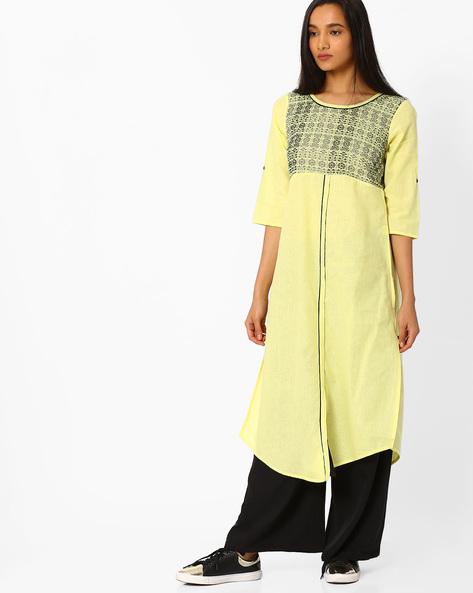 Straight Kurta With Curved Hemline By AURELIA ( Yellow )