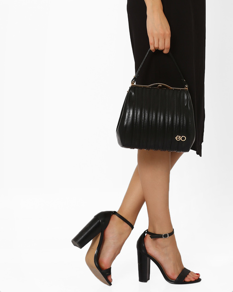 Faux-Leather Satchel With Striped Overlays By E2O ( Black )