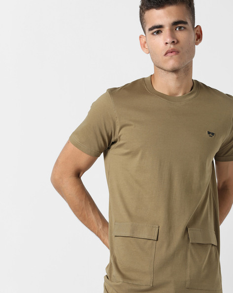 Longline T-shirt With Flap Patch Pockets By Garcon ( Olive )