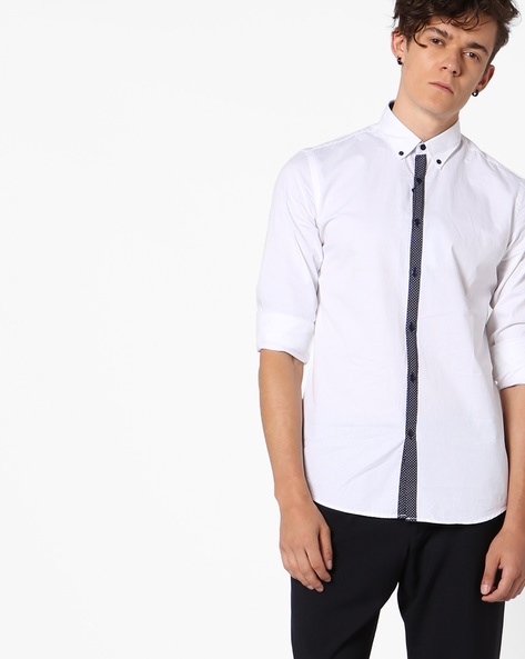 Classic Shirt With Contrast Placket By ADAMO LONDON ( Multi )