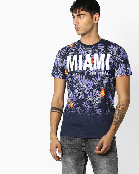Printed Cotton Crew-Neck T-shirt By Celio ( White )