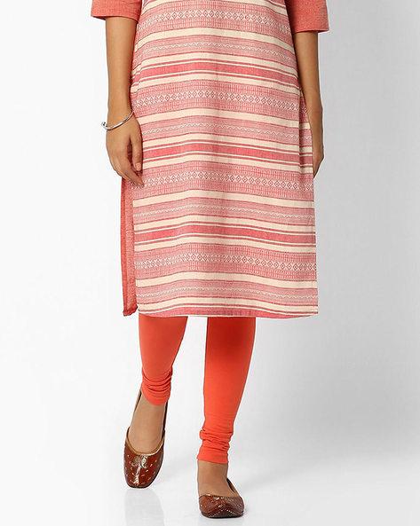 Churidar Leggings With Elasticated Waistband By W ( Orange )