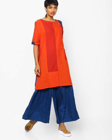 Colourblock Tunic With Patch Pocket By PE IW Fusion ( Orange )