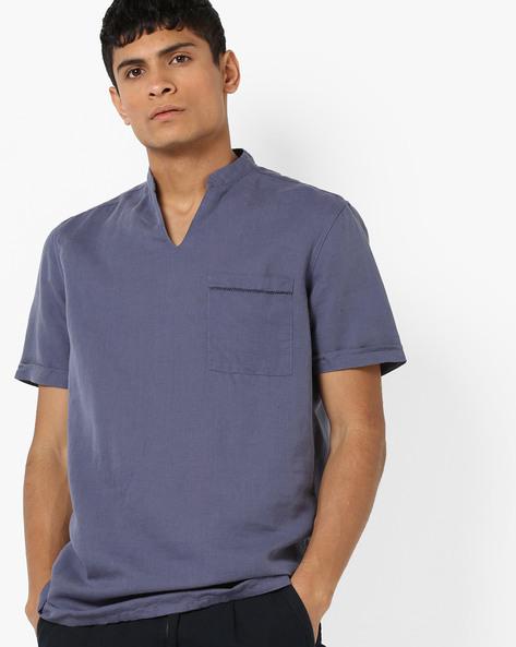 Shirt Kurta With Patch Pocket By AJIO ( Blue )