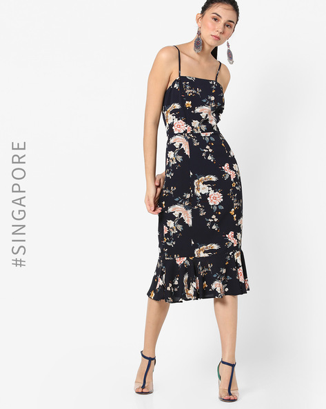 Floral Print Strappy Mermaid Dress By MDS ( Navyblue )